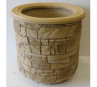 Бетонная декоративная цветочница напольная древний пласт Д-051. 40 литров